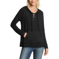 Eddie Bauer Motion Women's Everyday Enliven LS Lace Up Hoodie - Large - Black