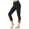 Beyond Yoga Women's Spacedye Blanket Stitch High Waisted Capri Legging - Medium - Dark Night