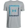 Under Armour Boys' Box Logo SS Top - Large - Mod Gray Light Heather /  / Ether Blue