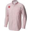 Columbia Men's Collegiate Super Tamiami LS Shirt - XL - Neb - Bright Red Gingham