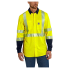 Carhartt Men's Flame Resistant High Visibility Force Class Hybrid Shir - Large Tall - Brite Lime