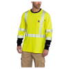 Carhartt Men's Flame Resistant High Visibility Force LS Class 3 T-Shir - XL Tall - Brite Lime