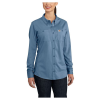 Carhartt Women's Flame Resistant Force Cotton Hybrid Shirt - Large - Medium Blue