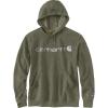 Carhartt Men's Force Delmont Signature Graphic Hooded Sweatshirt - Large Regular - Moss Heather