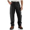 Carhartt Men's Firm Duck Double-Front Work Dungaree Pant - 46x30 - Black