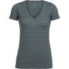 Icebreaker Women's Tech Lite V Neck SS Top - Medium - Metal / Lagoon / Stripe