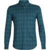 Icebreaker Men's Compass Flannel LS Shirt - Medium - Poseidon / Timberwolf / Hydro Plaid