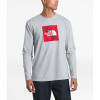 The North Face Men's Recycled Materials LS Tee - XXL - TNF Light Grey Heather / TNF Red