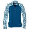Smartwool Women's Merino 250 Baselayer Pattern 1/4 Zip Top - Large - Nile Blue Medallion