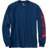 Carhartt Men's Signature Sleeve Long Sleeve T-Shirt - XL Regular - Dark Cobalt Blue / Red