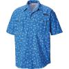 Columbia Men's Super Bahama SS Shirt - Small - Vivid Blue Mermaids N Marlins Print