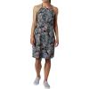 Columbia Women's Armadale II Halter Top Dress - XL - Black Feathery Leaves Print