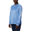 Columbia Women's Tidal Tee Heather LS Shirt - Large - Stormy Blue Heather / White Logo
