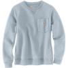 Carhartt Women's Clarksburg Crewneck Pocket Sweatshirt - Large - Soft Blue Heather