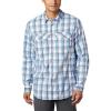 Columbia Men's Silver Ridge Lite Plaid LS Shirt - Large - Azure Blue Grid Plaid