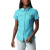Columbia Women's Lo Drag SS Shirt - Medium - Clear Water