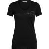 Icebreaker Women's Tech Lite SS Scoop Neck Tee - Single Line Camp - Small - Black