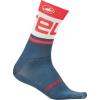 Castelli Men's Free Kit 13 Sock - Small / Medium - Light Steel Blue/Red