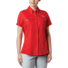 Columbia Women's Lo Drag SS Shirt - Medium - Red Lily