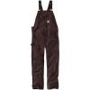 Carhartt Men's R01 Duck Bib Overall - 52x32 - Dark Brown