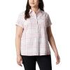 Columbia Women's Silver Ridge Novelty SS Shirt - XL - Bright Poppy Windowpane