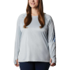 Columbia Women's Tidal Tee Hoodie - Small - Cirrus Grey / Stormy Blue Logo