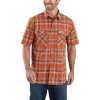 Carhartt Men's Rugged Flex Relaxed-Fit Lightweight SS Snap-Front Plaid - Large Tall - Harvest Orange