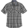 Carhartt Men's Rugged Flex Relaxed-Fit Lightweight SS Snap-Front Plaid - Large Tall - Black