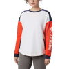 Columbia Women's Lodge II Crew Top - Large - White / Bright Poppy / Nocturnal