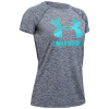 Under Armour Girls' UA Big Logo Twist Tech Tee - Medium - Downpour Gray / Breathtaking Blue