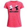 Under Armour Girls' UA Big Logo Twist Tech Tee - Small - Penta Pink / White / Black