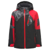 Spyder Boys' Leader Jacket - 10 - Black / Red / Cloudy Tonal Distress Print