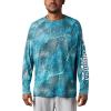 Columbia Men's Super Terminal Tackle LS Shirt - XXL - Bright Aqua Realtree Mako