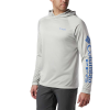 Columbia Men's Terminal Tackle Heather Hoodie - Large - Cool Grey Heather / Vivid Blue Logo
