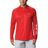 Columbia Men's Terminal Tackle 1/4 Zip Top - 4XL Tall - Red Spark / White Logo