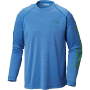 Columbia Men's Terminal Tackle Heather LS Shirt - Small - Vivid Blue Hthr / Clean Green L