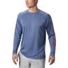 Columbia Men's Terminal Tackle Heather LS Shirt - Medium - Carbon Heather / Red Spark Logo