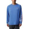 Columbia Men's Terminal Tackle Heather LS Shirt - Medium - Vivid Blue Heather / Bright Nectar Logo