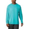 Columbia Men's Terminal Tackle LS Shirt - XXL Tall - Bright Aqua / Collegiate Navy Logo