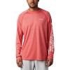 Columbia Men's Terminal Tackle Heather LS Shirt - XXL - Red Spark Heather / White Logo
