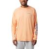 Columbia Men's Terminal Tackle Heather LS Shirt - XL - Bright Nectar Heather / Vivid Blue Logo