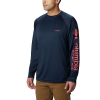 Columbia Men's Terminal Tackle LS Shirt - 4X - Collegiate Navy / Sunset Red