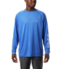 Columbia Men's Terminal Tackle LS Shirt - 3X - Vivid Blue / Cool Grey