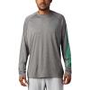 Columbia Men's Terminal Tackle Heather LS Shirt - Large - City Grey Heather / Dark Lime Logo
