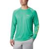 Columbia Men's Terminal Tackle Heather LS Shirt - Large - Dark Lime Heather / Sunlit Logo