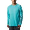 Columbia Men's Terminal Tackle Heather LS Shirt - Small - Bright Aqua Heather / Coll Navy Logo