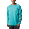 Columbia Men's Terminal Tackle Heather LS Shirt - Large - Bright Aqua Heather / Coll Navy Logo