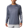 Columbia Men's Terminal Tackle Heather LS Shirt - XL - Collegiate Navy Heather / White Logo