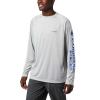 Columbia Men's Terminal Tackle LS Shirt - 2XT - Cool Grey / Vivid Blue Logo