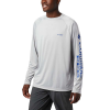 Columbia Men's Terminal Tackle LS Shirt - 4XT - Cool Grey / Vivid Blue Logo